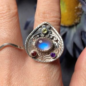 Sterling silver moonstone amethyst garnet ring